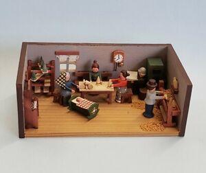 Vintage German Erzgebirge Christmas Tree Shop Room Box Handcrafted