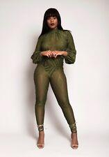 Women's mesh hunter green long sleeve jumpsuit