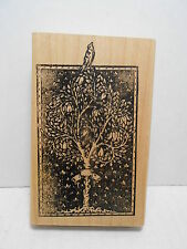ENGRAVED TREE & BIRD Rubber Stamp VINTAGE Silver Crow Creations c.2000