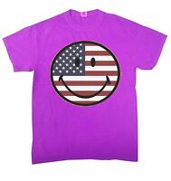 USA SMILEY FACE T-Shirt NEON Assorted Colors ADULT S-3XL & KIDS XS2-4-L14-16