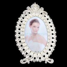 Fashion Oval Metal Pearl Picture Photo Frame Vintage Table Decor Gift 4 x 6
