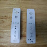 Lot of 2 Official Nintendo Wii Remote White Controllers RVL-003