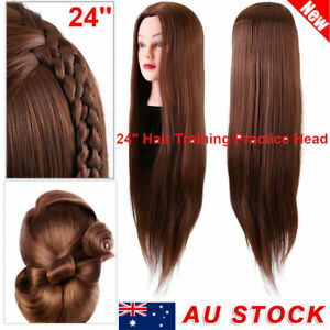 "24"" Long Hair Practice Hairdressing Training Head Mannequin Doll + Clamp AU"