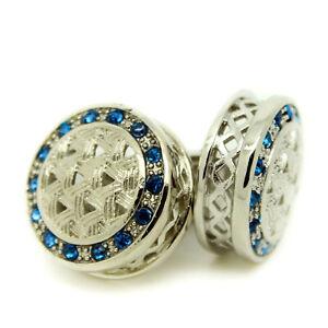 Cufflinks Circular Blue Silver Crystal Wedding Groomsman Pair Men's Cuff Links