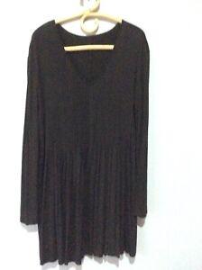 Sandra Soulos Black Fine Pintucked Tunic Size 16 / 18