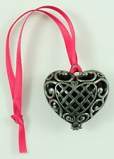 Vintage Silver Metal Heart Locket Christmas Ornament Holiday Tree Decoration