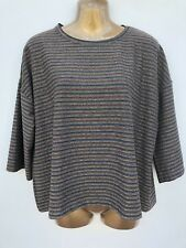 NWOT NEW LOOK Sparkly Red Gold Blue Striped Top Size 14 Stretch Relaxed T-Shirt