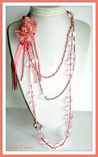 """VERY LONG 50"""" CLASSIC SILVER & PINK RIBBON FLOWER & SPHERE STATEMENT NECKLACE."""