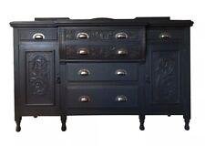 Large Antique Carved Victorian Painted Black Sideboard Server Cupboard Dresser