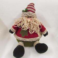 Santa Father Christmas sitting decoration red green wooly hat beard figurine