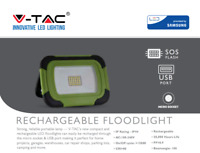 10W LED Floodlight Rechargeable Portable Work Light With SOS Function IP44 6400K