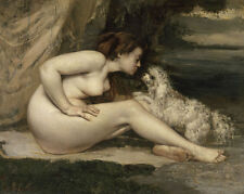 Nude Woman with a Dog Gustave Courbet Nackte Frau Akt Hund Tiere B A3 02168