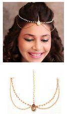 NEW MATHA PATTI HIJAB JEWELLERY CHAIN GOLD INDIAN TIKKA HEADPIECE HAIR GOLD