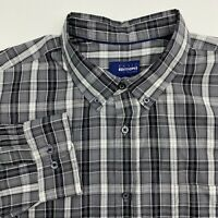 Basic Editions Button Up Shirt Mens XXL Gray Plaid Long Sleeve Casual