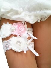 Pink Ivory Wedding Garter Set (2 Garters) Pearl Rhinestone Bow Chiffon Lace S4P