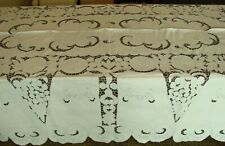 Antique 17 Pc. Madeira Embroidered Cutwork Lace Tablecloth, Napkins Banquet S33
