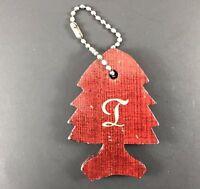 Vintage 70s California Redwoods Souvenir Keychain Personalized Letter T Initial