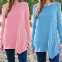 Women Ladies Casual Loose Long Sleeve Round Neck Buttons Blouse Tunic Shirt Tops