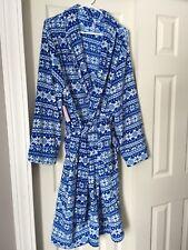 New Intimo Women's Robe Blue & White Fleece