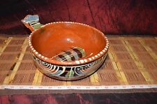 """large Mexican pottery Handmade bowl Dish with Handle 11 1/2""""x4 7/8"""""""