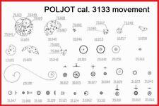 Poljot Chronograph 3133, Valjoux 7734, Uhrwerk Ersatzteile, movement spare parts
