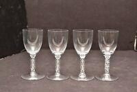 Lalique Guibwiller SET 4 Cordial Goblet Crystal Stemware Signed glasses Frosted