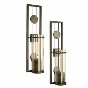 Danya B., Inc Set of Two Contemporary Metal Wall Sconces With Antique Patina ...