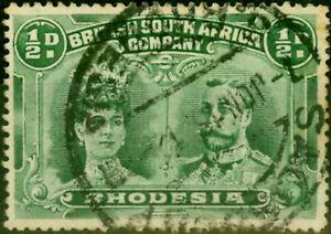Rhodesia 1910 1/2d Blue-Green SG167 P.15 Fine Used