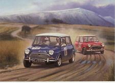 BMC Austin Morris Mini Cooper race rally greeting card motoring art Epynet Wales