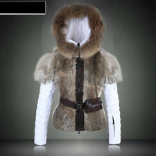 Real Rabbit  Fur New Fashion Short Design Slim Down Coat