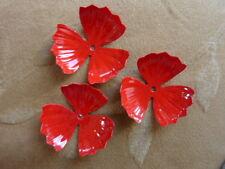 8   vintage metal enamel flower bead, poppy red, 32mm