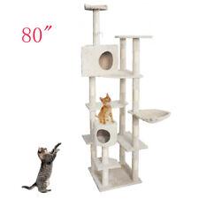 "New listing 80"" Sisal Hemp Cat Tree Play House Tower Condo Furniture Scratching Beige"