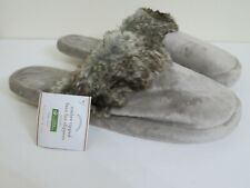 POTTERY BARN FAUX FUR OMBRE TIPPED SLIPPERS NEW LARGE WOMENS 10-11