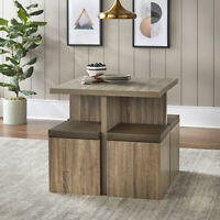 Modern 5-Piece Dexter Dining Set with Storage Ottoman Natural Reclaimed Grey