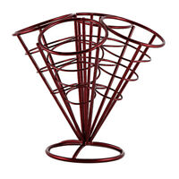French Fry Stand 4 Cones Basket Holder for Fries Fish Chips Appetizers Red