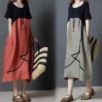 Women's Short Sleeve Loose Cotton Linen Tunic Baggy Long Maxi Dress Plus Kaftan