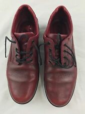 Ecco Light Womens Size 39 8-8.5 Shoes Red Leather Walking Lace Tie Support