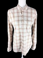 Betabrand Women's Button Down Blouse Top Sz S Small White Tan Plaid Long Sleeve