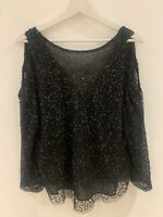 BLACK SEQUIN LONG SLEEVE TOP 14 GLAM CLUB XMAS SUMMER HOLIDAY TOWIE PARTY CELEB