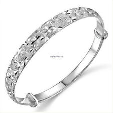 Charm Bangle 925 Sterling Silver Adjust Cuff Bracelet Chain Fashion Jewelry Gift