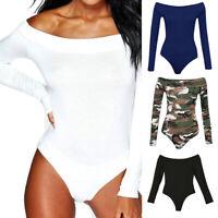 US Women Ladies Bodysuit Stretch Leotard Long Sleeve Body Tops T shirt Jumpsuit