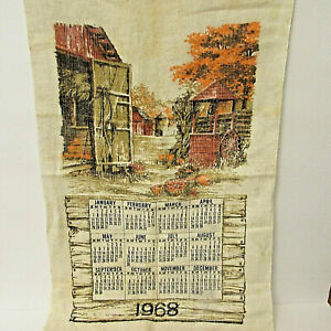 "Vintage 1968 Calendar Farm Scene Linen Tea Towel 27"" X 16"""