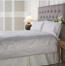 K by Kelly Hoppen 100% Cotton Geometric Jacquard 6 Piece Duvet Set Single Silver