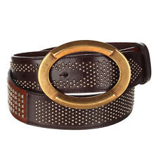 DOLCE & GABBANA  BROWN LEATHER BELT WITH RIVETS RRP €500