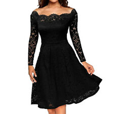 Women Floral Lace Formal Cocktail Evening Party Dress Long Sleeve Short Dress