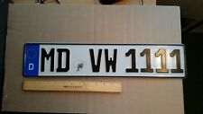 License Plate, Germany, Quadruple 1 for a Vdub Doctor!  MD VW 1111