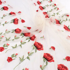 Red Floral Rose Lace Fabric Bilateral Embroidered net tulle Fabric BY YARD