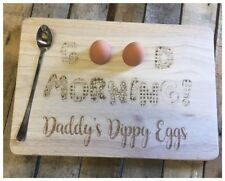 Wooden Dippy Boiled Egg & Soldiers Board Good Morning Daddy Fathers Day Gift