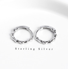 Sterling Silver 925 Small Huggie Hoop Earrings Hoop Men Women Gift 12x3mm F36