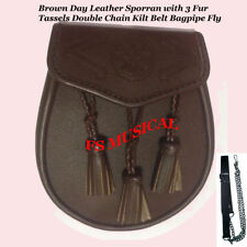 Brown Day Leather Sporran with 3 Fur Tassels Double Chain Kilt Belt Bagpipe Fly